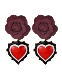 Fashion Red Alloy Fabric Flower Love Earrings