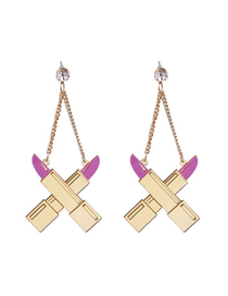 Fashion Gold Intersection Lipstick Earrings