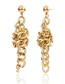 Fashion Gold Geometric Metal Knotted Chain Stud Earrings