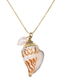 Fashion Gold Copper Pearl Conch Necklace