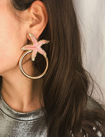 Fashion Pink Geometric Starfish Painting Oil Circle Stud Earrings