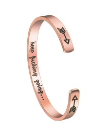 Fashion Rose Gold Keep Fucking Going Letter Arrow C-shaped Bracelet