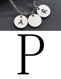 Fashion Steel Color P Letter Corrosion Dripping Round Medal Pendant