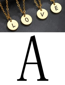 Fashion Golden A Letter Corrosion Dripping Round Medal Pendant