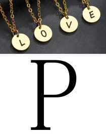 Fashion Golden P Letter Corrosion Dripping Round Medal Pendant
