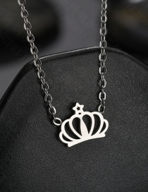 Fashion Steel Color Openwork Crown Necklace