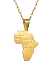 Fashion Gold African Map Necklace