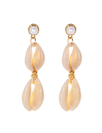 Fashion Gold Alloy Pearl Double-layer Shell Earrings