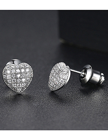 Fashion White Zirconium White Gold Heart Shaped Earring