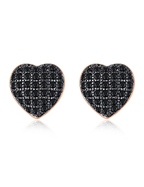 Fashion Black Zirconium Rose Gold Heart Shaped Earring
