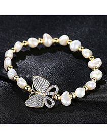 Fashion Gold Pearl Zirconium Butterfly Feast Bracelet