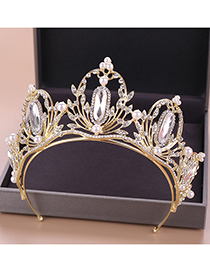 Fashion Gold Crown Pearl Headband