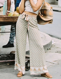 Fashion Green Floral Wide-leg Pants