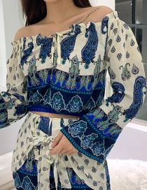 Fashion Blue Blue And White Porcelain Print Shoulder Top