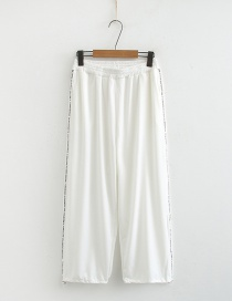 Fashion White Elastic Waist And Leg Pants