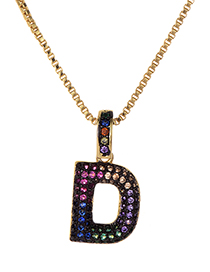 Fashion D Gold Copper Inlaid Zircon Letter Necklace