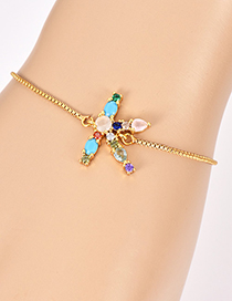 Fashion K Gold Copper Inlaid Zircon Letter Bracelet