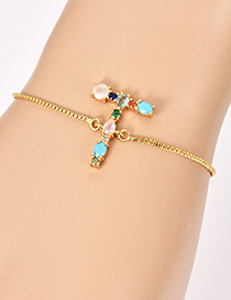 Fashion T Golden Copper Inlaid Zircon Letter Bracelet