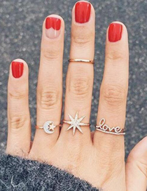 Fashion Gold Size Star Moon English Letter Ring 4 Piece Set