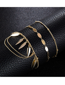 Fashion Gold Round Beaded Fringed Leaf Bracelet 3 Piece Set