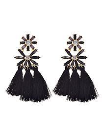 Fashion Black Alloy Studded Tassel Earrings