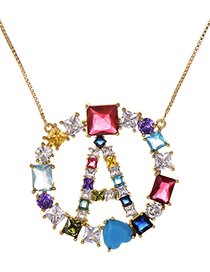 Fashion A Gold Copper Inlaid Zircon Letter Necklace