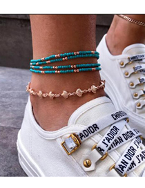 Fashion Gold Beaded Shell Anklet Set Of 5