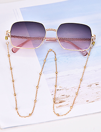 Fashion Navy Blue Alloy Resin Chain Gradient Sunglasses(Without chain)