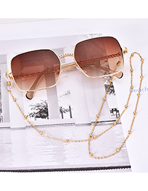 Fashion Brown Alloy Resin Chain Gradient Sunglasses(Without chain)