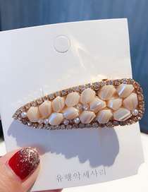 Fashion Beige Pearl Drop Diamond Hair Clip