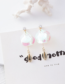 Fashion Shell Conch Sequined Metal Earrings