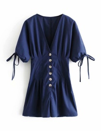 Fashion Navy Cotton And Linen Jumpsuit