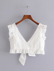 Fashion White Flying Sleeve V-neck Hollow Back Strap Top