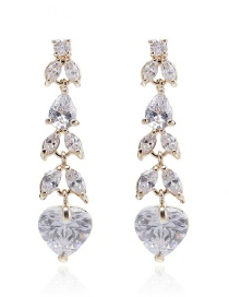 Fashion Gold Copper Inlaid Zircon Heart-shaped Earrings