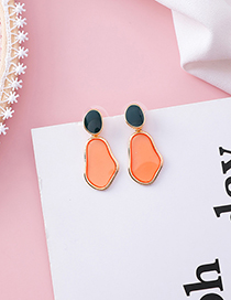 Fashion Orange (irregular Oval) 925 Silver Needle Drip Transparent Earrings