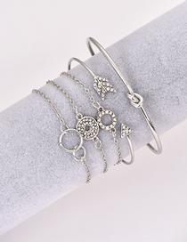 Fashion Silver Alloy Round Arrow Multilayer Bracelet Set