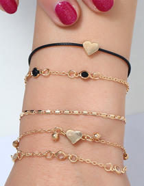 Fashion Gold Alloy Wax Rope Love Bracelet Set