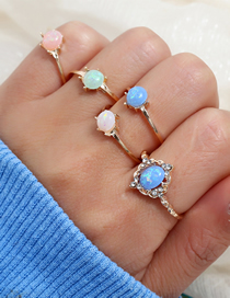 Fashion Gold Alloy Resin Five-piece Ring