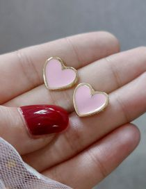 Fashion Pink Love Drop Glazed Earrings