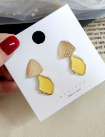 Fashion Yellow Irregular Drop Glaze Triangle Stitching Earrings