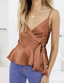 Fashion Khaki Silky Satin Ruffled Camisole