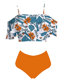 Fashion Orange Trousers Printed Top Ruffled Shoulder High Waist Bikini