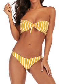 Fashion Yellow Vertical Stripe Printed Knotted Tube Top High Waist Split Swimsuit
