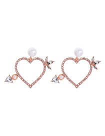 Fashion Rose Gold Pearl Arrow Pierced Through The Heart And Stud Earrings