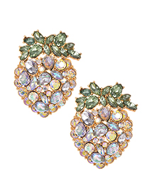 Fashion Champagne Alloy Studded Strawberry Stud Earrings