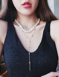 Fashion Gold Locked Irregular Pearl Multi-layer Necklace
