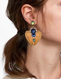 Fashion Khaki Alloy Diamond-studded Wooden Love Earrings
