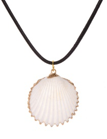 Fashion Black Pu Shell Necklace