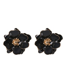 Fashion Black Drop Oil Petal Pearl Earrings