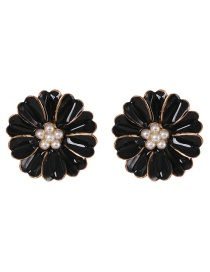 Fashion Black Small Chrysanthemum Color Diamond Drop Oil Pearl Earrings